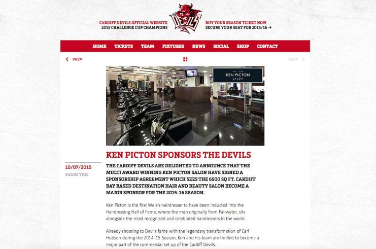 KEN PICTON SPONSORS THE CARDIFF DEVILS